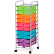 "Seville Classics 15-3/8"" x 12-13/16"" x 38-3/16"" - 10-Drawer Organizer Cart - Pearlescent Multi-Color"