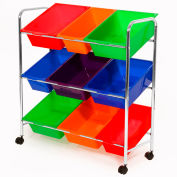 "9-Bin Mobile Storage Organizer - 32""L x 14""W x 34""H - Assorted Colored Bins"