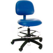 ESD-Safe Vinyl Clean Room Stool with Nylon Base with Drag Chain Blue