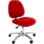 High Back Conductive Fabric Chair w/ Aluminum Base & ESD Casters Light Burgundy