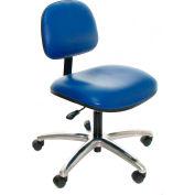 Heavy Duty Vinyl Chair with Aluminum Base Blue