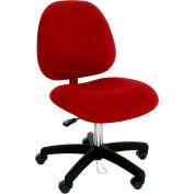 High Back Conductive Fabric Chair w/ Nylon Base & Drag Chain Light Burgundy