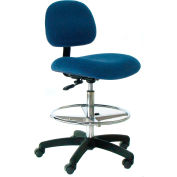 Heavy Duty Stool with Footrest -Low Back - Fabric  - Blue - Nylon Base