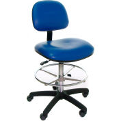 Heavy Duty Stool - Vinyl - Low Back - Nylon Base - Black
