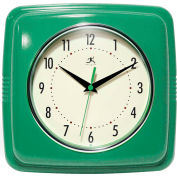 "Infinity Instruments 9.5"" Wall Clock, Green Retro"
