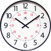 "Infinity Instruments 20"" Wall Clock, Black, 24Hr."