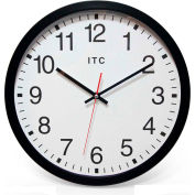 "Infinity Instruments 14"" Round Obsidian Wall Clock - Black"