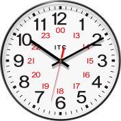 "Infinity Instruments 12"" Round Prosaic 12/24 Hour Wall Clock - Black"
