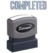 "Xstamper® Pre-Inked Message Stamp, COMPLETED, 1-5/8"" x 1/2"", Blue"