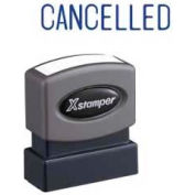 "Xstamper® Pre-Inked Message Stamp, CANCELLED, 1-5/8"" x 1/2"", Blue"