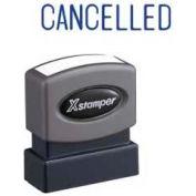 "Xstamper® Pre-Inked Message Stamp, CANCELLED, 1-5/8"" x 1/2"", Blue"