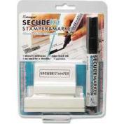 """Xstamper® Secure Stamp & Marker Kit, 15/16"""" x 2-13/16"""", Black"""