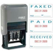 "Xstamper® Self-Inking Message/Date Stamp, PAID/FAXED/RECEIVED, 15/16"" x 1-3/4"", Blue/Red"