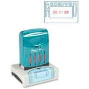 "Xstamper® VersaDater Pre-Inked Message/Date Stamp, RECEIVED, 1-5/16"" x 2-1/8"", Blue/Red"