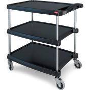 """Intermetro Utility Cart With Chrome Posts, 3 Shelf, 40-1/4""""Lx23-7/16""""W, Black"""