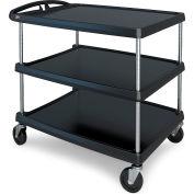 """Intermetro Utility Cart With Chrome Posts, 3 Shelf, 40-1/4""""Lx27-11/16""""W, Black"""