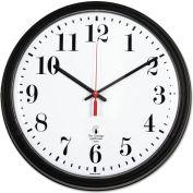 "Chicago Lighthouse Black Quartz CONTRACT Clock, 13.75"" Overall Diameter, Black Case, 1 AA"