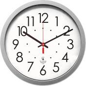 "Chicago Lighthouse Silver Contemporary Clock, 14.5"" Overall Diameter, Silver Case, 1 AA"