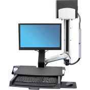 Ergotron® 45-270-026 StyleView® Sit-Stand Combo System with Worksurface, Polished Aluminum