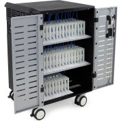 Ergotron® Zip40 Charging Cart for 40 Laptops/Tablets, Black/Silver