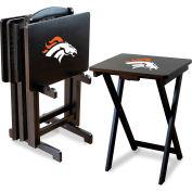Denver Broncos Four TV Snack Tray Tables with Storage Rack