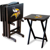 Minnesota Vikings Four TV Snack Tray Tables with Storage Rack