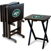 New York Jets Four TV Snack Tray Tables with Storage Rack