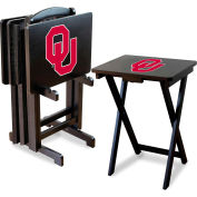 University Of Oklahoma  Four TV Snack Tray Tables with Storage Rack