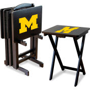University Of Michigan Four TV Snack Tray Tables with Storage Rack