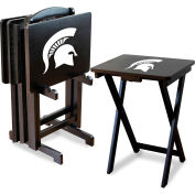 Michigan State Four TV Snack Tray Tables with Storage Rack