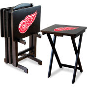 Detroit Redwings Four TV Snack Tray Tables with Storage Rack