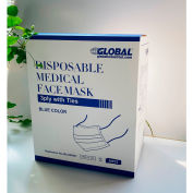 Disposable Medical Face Masks, 3-Ply with Ties, Individually Wrapped, Blue, 50/Box