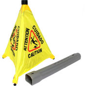 "Impact® Pop Up Safety Cone 20"" Yellow/Black, Multi-Lingual - 9183 - Pkg Qty 4"