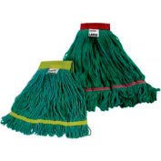 Impact Cotton/Synthetic Blend Saddle-Type Looped-End Wet Mop W/Tailband-Lg,Grn/Red,L281lg - Pkg Qty 12