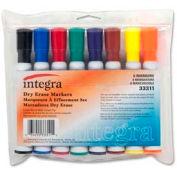 Integra™ Dry-Erase Chisel Tip Marker, Assorted Ink, White Barrel, 8/Set