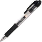 Integra™ Retractable Gel Pen, Rubber Grip, 0.5mm, Black Barrel/Ink, Dozen