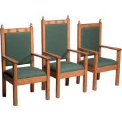 "# 200 Pulpit Chair, 44""H, Medium Oak Stain, Aloe Fabric"