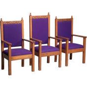"# 500 Pulpit Chair, 48""H, Dark Oak Stain, Maroon Fabric"