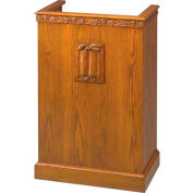 # 501 Single Pulpit, With Carving, Medium Oak Stain