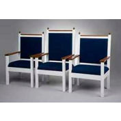 "# 800 Pulpit Chair, 44""H, Two Tone Colonial White, Medium Oak Stain Trim, Cobalt Fabric"
