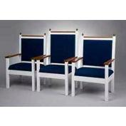 "# 800 Pulpit Chair, 44""H, Two Tone Colonial White, Medium Oak Stain Trim, Cobalt Fabric"