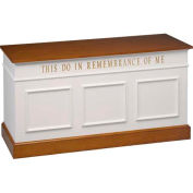 # 810 Closed Communion Table, Two Tone Colonial White, Dark Oak Stain Trim