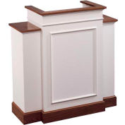 # 810 With Wing Pulpit, Two Tone Colonial White, Light Oak Stain Trim