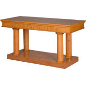 # 8305 Open Communion Table, Two Tone Colonial White, Light Oak Stain Trim