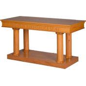 # 8305 Open Communion Table, Two Tone Colonial White, Dark Oak Stain Trim