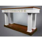 # 8405 Open Communion Table, Two Tone Colonial White, Light Oak Stain Trim