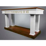 # 8405 Open Communion Table, Two Tone Colonial White, Dark Oak Stain Trim