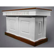 # 8420 Closed Communion Table, Two Tone Colonial White, Medium Oak Stain Trim
