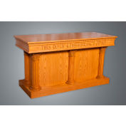 #8500 Series Ornate Closed Communion Table, Two Tone Colonial White, Medium Oak Stain