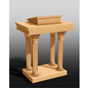 #8500 Series Ornate Open Pulpit, Two Tone Colonial White, Dark Oak Stain